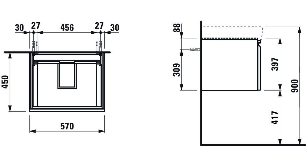 Laufen Pro S alsó szekrény mosdóhoz egy belső fiókkal 57 cm ...