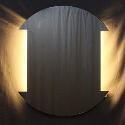 világító kerek tükör 2 LED csíkkal kétoldalt