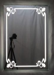 világító tükör 60 x 85 cm LED világítással szecessziós mintával, kapcsolóval